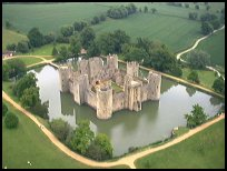 Bodiam East Sussex - Hot air balloon launching from the Castle g